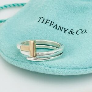 Size 7.5 Tiffany T Square Wrap Ring 18K Rose Gold And Silver