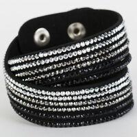 Slake Crystal Wrap Bracelet made w Swarovski Crystal Black Alcantara Leather
