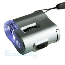 LED UV Light 60X Microscope Lens Jeweler Loupe Illuminated Magnifier Glass