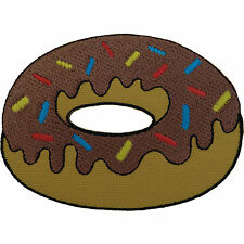 Doughnut Patch Embroidered Chocolate Donut Sew / Iron On Badge Food Embroidery