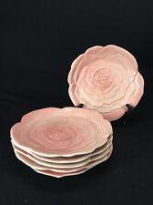 VINTAGE FITZ & FLOYD OMNIBUS OCI PINK ROSES SET OF 6 PLATES (lh342)