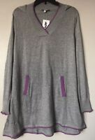 Adamo Women's Hooded Sweater Tunic Dress Top W/Pockets Lightweight Size XL NWT