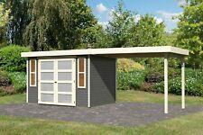 Karibu 19mm Gartenhaus Mühlendorf 4 terragrau mit Anbaudach 2,80m /nur Lieferung