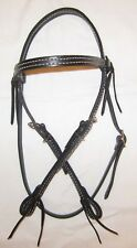 Western Horse Headstall - Black w/White Stiching - Laced Conchos - New