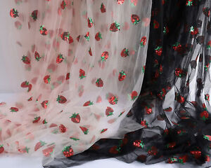 Lovely Strawberry Net Fabric Sequins Embroidery Lace Tulle Sold By The Yard