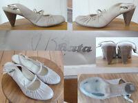 Bata Schuhe Pumps Slingback Sommer 7cm Absatz Gerafft Leder Beige 37 1A Zustand