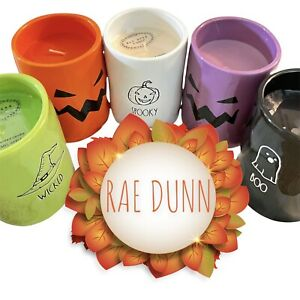 Rae Dunn Halloween LOT 5 Colorful Scented Candles NEW WICKED BOO SPOOKY CURSED