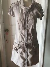 Juicy Couture Military Dress Size 6 Cargo Khakki Pockets Ties Adj Collar Sleeves