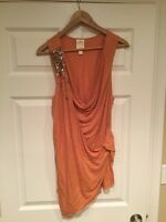 Ric Rac Anthropologie Tangerine Orange Layered Tank Top With Sequins, Size L