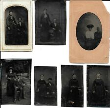SEVEN Antique Tintypes, Young Victorian Couples, Men, Women, Cowboys, Outdoors