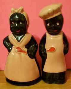 Chefs Man and Woman Moe Salt & Pepper Shakers, Ceramic, Pink