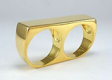 Mens Custom Two Finger 24k Gold Minimalist Retro Statement Double Bar Ring Sz 12