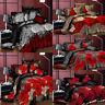 3/4Pcs 3D Printed Floral Bedding Sets Flat Sheet Pillowcase Quilt Duvet Cover