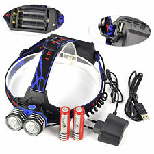 11000LM LED 2X XML T6 Headlamp Headlight Light Head Torch + USB Charger Battery