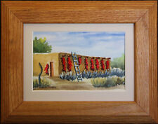 Adobe Home with Bright Red Ristras and Sage, Mini Original Watercolor Painting