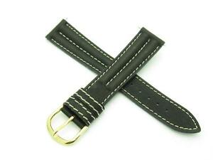 High Quality Genuine Black Leather 18mm Watch Band With Pins Included