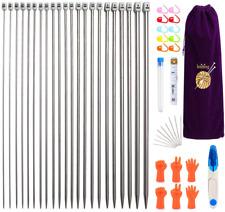 MoneRffi Knitting Needle Set 22pcs Stainless Steel Sweater Knitting Needles Kit
