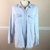 Old Navy Womens Top Size L Denim Button Down Light Wash Classic Cotton
