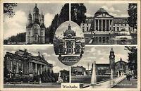 Wiesbaden Mehrbildkarte 1951 gelaufen Kochbrunnen Hauptbahnhof Staatstheater u.a