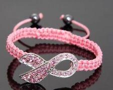 Shamballa Crystal Pink Ribbon Breast Cancer Awareness Bracelet Gift jewelery  2