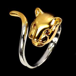 Orange Sapphire Round Diamond Cut 925 Sterling Silver Tiger Ring Size 7.5
