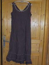 magnifique robe JACQUELINE RIU lin - coton marron taille 40 / 42  parfait état