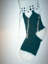 "Hand crocheted Christmas stocking victorian with jewels.15"" Teal"