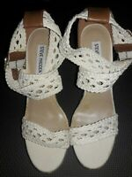 Steve Madden P River Wedge Sandals Womens Size 9.5 White Braided Strappy Shoes