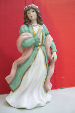 """Homco 8"""" Tall My Lady Decorative Figurine #1486 Pink & Green Robe with Garland"""