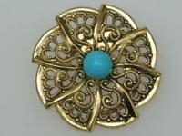 PRETTY VINTAGE 70/80'S GOLD PLATED OPENWORK TURQUOISE EFFECT SCARF RING CLIP