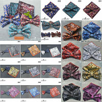 POCKET SQUARE BOW TIE SET PAISLEY FLORAL WEDDING EVENT HANKY TIE SILK ADJUSTABLE