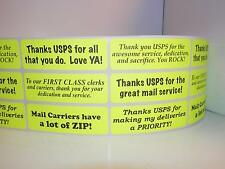 Thank You USPS Support Messages 1x3 sticker label fluorescent chartreuse  252/rl