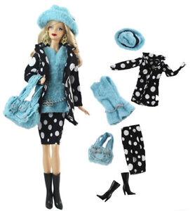 6in1 Set Fashion Coat+Vest+Skirt+Boots+Hat+Bag FOR 11.5in.Doll Clothes Girl Gift