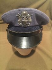 Vintage Military US Air force Officers Dress Hat Blue With Badge Size 6 3/4