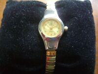 Rojas Ladies Dress Style Quartz Watch GWO New Battery Gold/Silver Tone elasticat