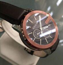 Mens Genuine Gucci G-chrono XL YA101202 Swiss Designer Watch Copper Leather
