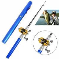 Fishing Rod Portable Mini Pocket Pen Shape Aluminum Reel with Neu Fish Pole V6V7