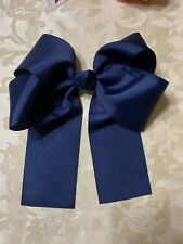 9� Large Cheer Bow 11� In Length Elastic Band Solid Navy Blue Color