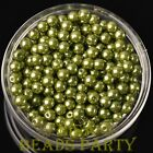 New 300pcs 6mm Round Czech Glass Pearl Loose Spacer Beads Olive Green