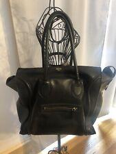 Authentic Celine Medium Luggage Tote Smooth Black Leather