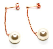 Rose Gold Plated 10mm Pearl Drop Earrings