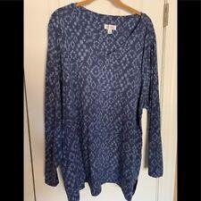 Denim & Co long sleeve blue print cotton top 3X