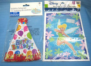 """Disney Tinker Bell Party Loot Bags & Happy Birthday Party Hats 72"""" Decoration"""