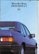 MERCEDES BENZ  190D & 190D 2.5 SALES BROCHURE MARCH 1986