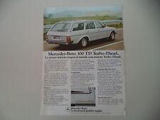 advertising Pubblicità 1980 MERCEDES BENZ 300 TD TURBODIESEL
