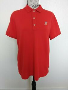 Ralph Lauren RLX Women's XL Shirt S/S Golf Polo Red Metal Buttons