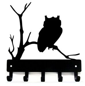 Owl Widllife Key Rack Hanger with 5 hooks - Small 6 inch - Made in USA
