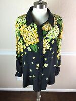 Bob Mackie Womens Top Silk Button Beaded Yellow Floral Long Sleeve Collar Size M