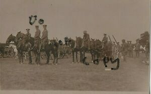 Drivers & horse teams about to hook up ? wagons Royal Engineers Claughton Camp