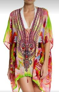 New! Camilla -Style Real Silk Crepe Size M-2X Tunic Floral Pink